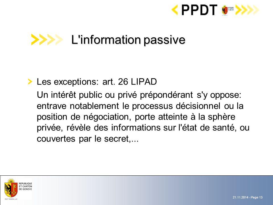 21.11.2014 - Page 13 Les exceptions: art.