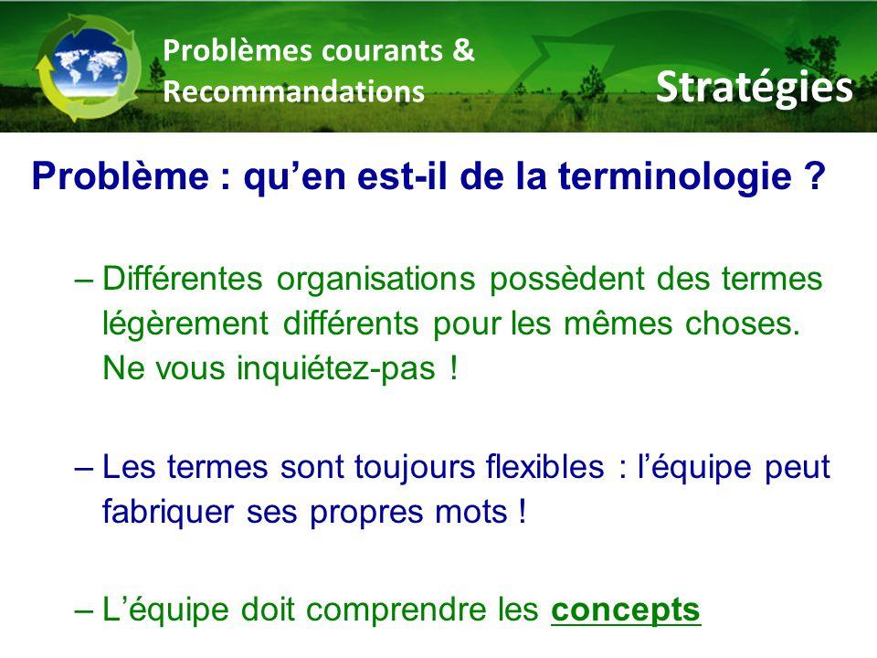 Problèmes courants & Recommandations Problème : qu'en est-il de la terminologie .