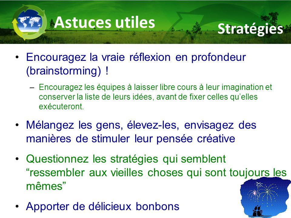 Astuces utiles Encouragez la vraie réflexion en profondeur (brainstorming) .