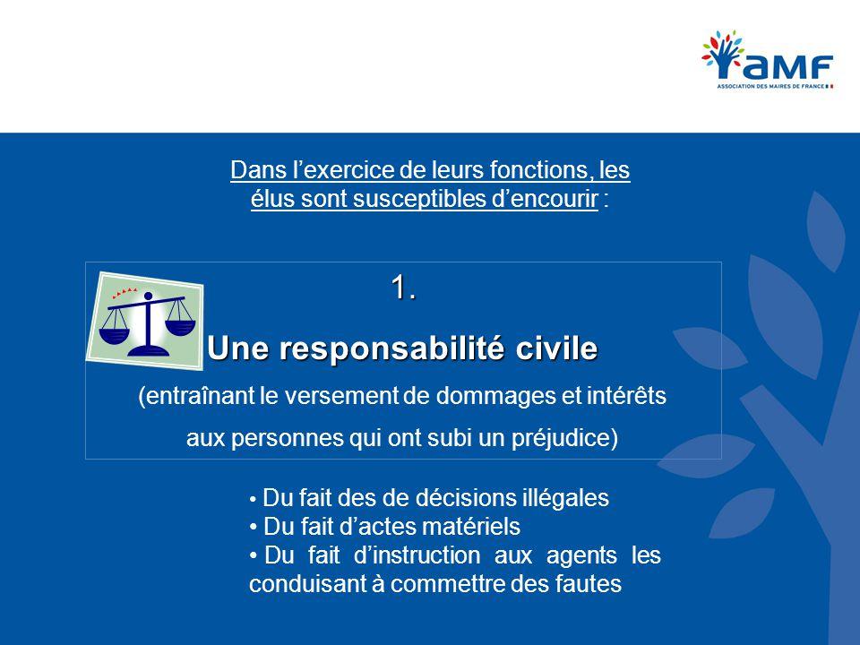 Dans l'exercice de leurs fonctions, les élus sont susceptibles d'encourir : 1. Une responsabilité civile (entraînant le versement de dommages et intér