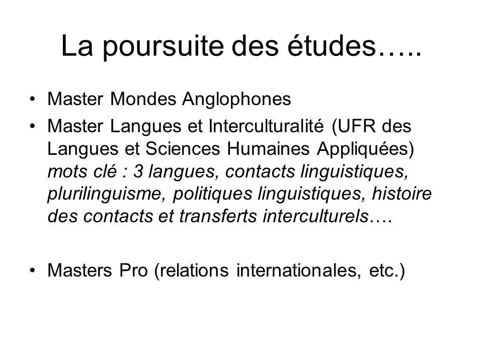 La poursuite des études….. Master Mondes Anglophones Master Langues et Interculturalité (UFR des Langues et Sciences Humaines Appliquées) mots clé : 3