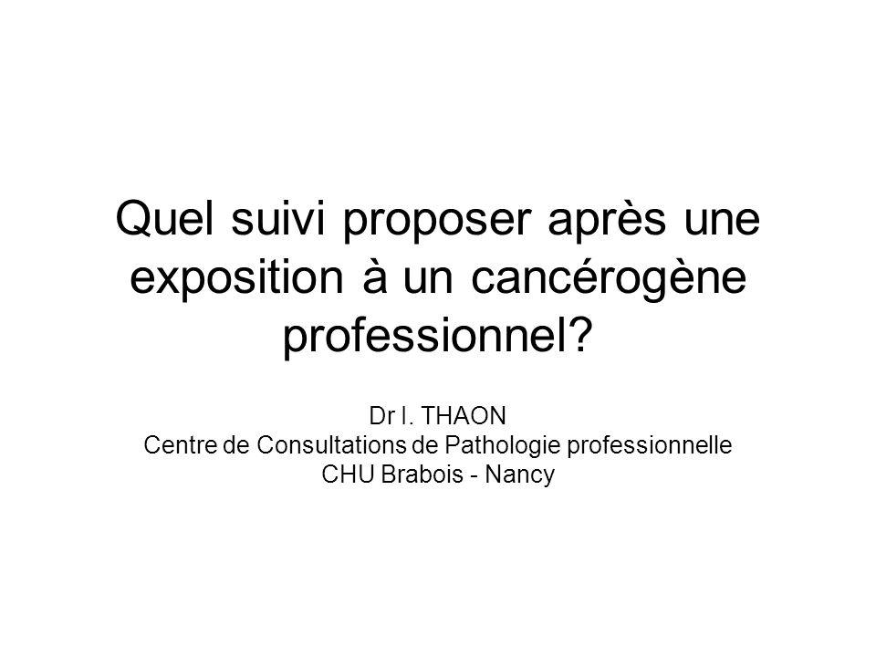 Quel suivi proposer après une exposition à un cancérogène professionnel? Dr I. THAON Centre de Consultations de Pathologie professionnelle CHU Brabois