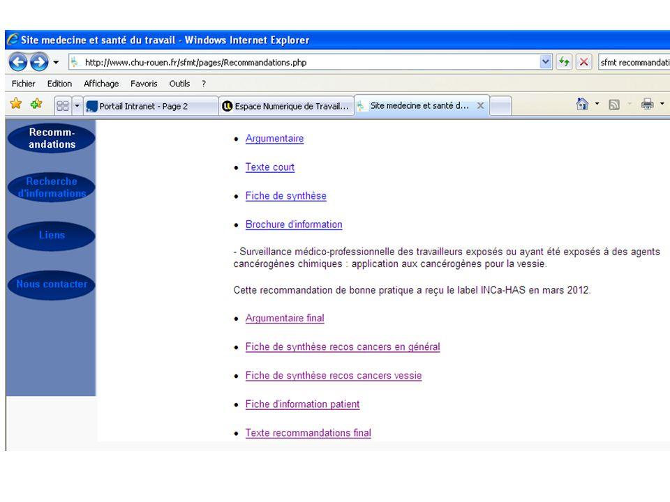 2 parties dans la recommandation 1/ Concernant les cancers professionnels en général 2/ Concernant les cancers de vessie