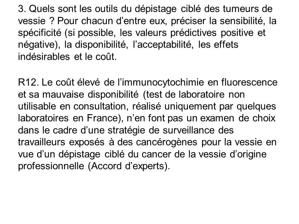 R12. Le coût élevé de l'immunocytochimie en fluorescence et sa mauvaise disponibilité (test de laboratoire non utilisable en consultation, réalisé uni