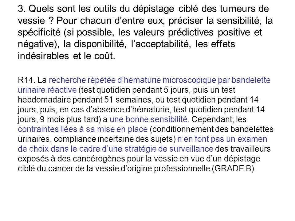 3. Quels sont les outils du dépistage ciblé des tumeurs de vessie ? Pour chacun d'entre eux, préciser la sensibilité, la spécificité (si possible, les