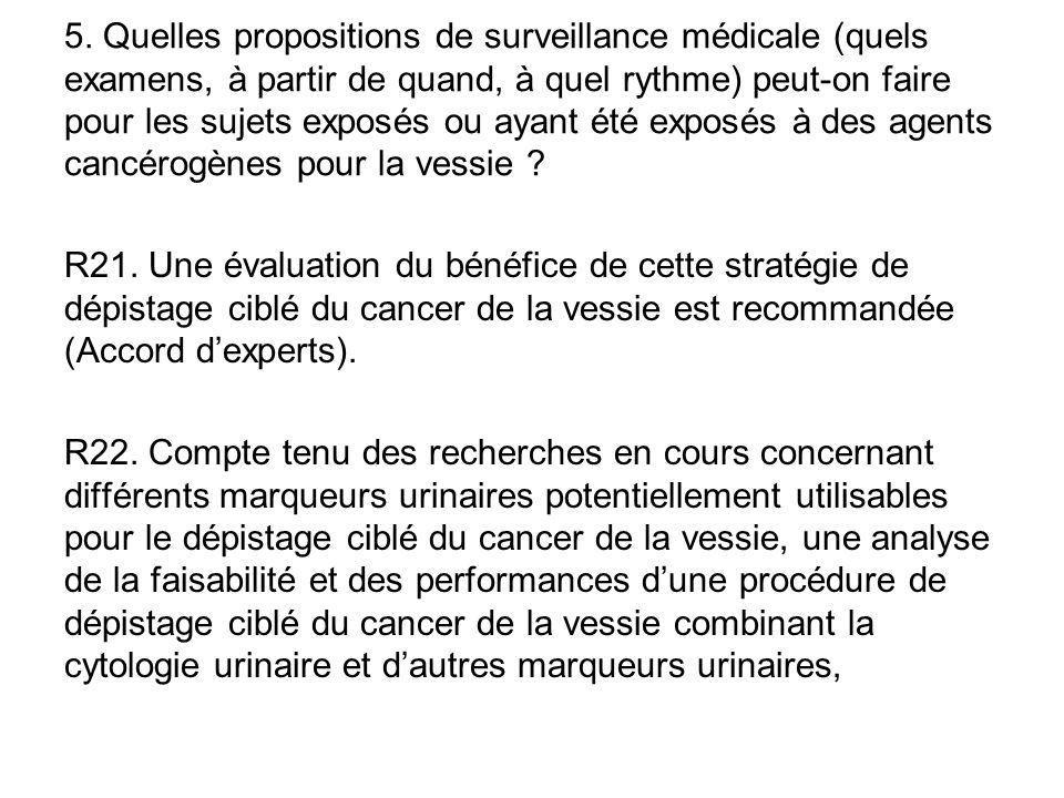 R21. Une évaluation du bénéfice de cette stratégie de dépistage ciblé du cancer de la vessie est recommandée (Accord d'experts). R22. Compte tenu des