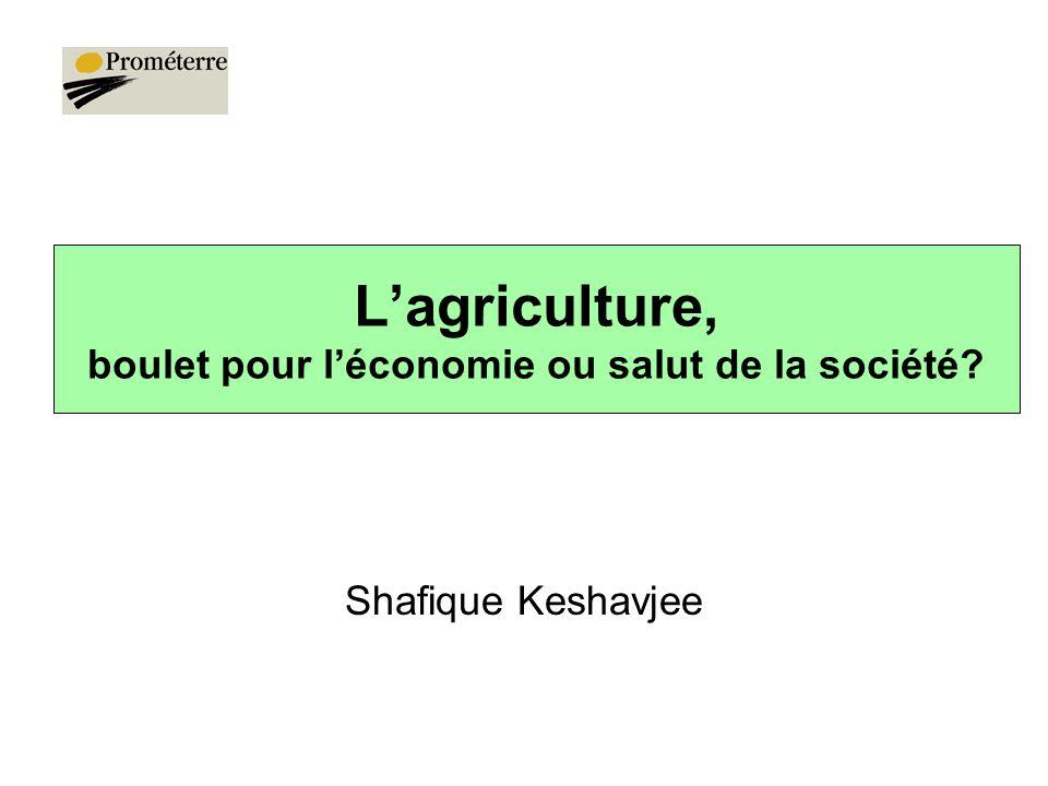 L'agriculture, boulet pour l'économie ou salut de la société? Shafique Keshavjee