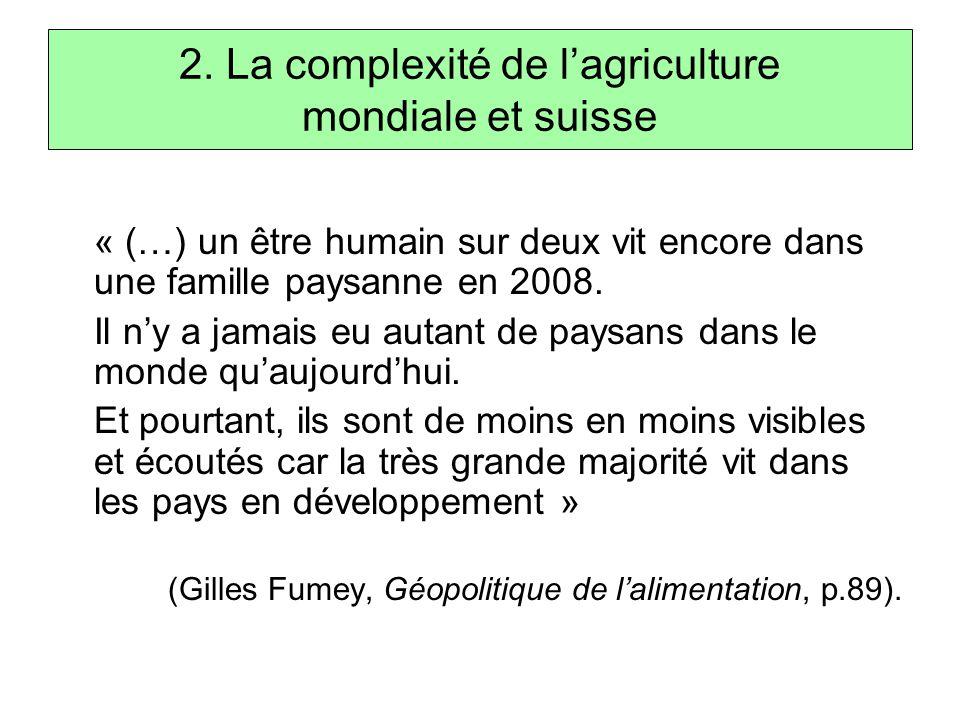 2. La complexité de l'agriculture mondiale et suisse « (…) un être humain sur deux vit encore dans une famille paysanne en 2008. Il n'y a jamais eu au