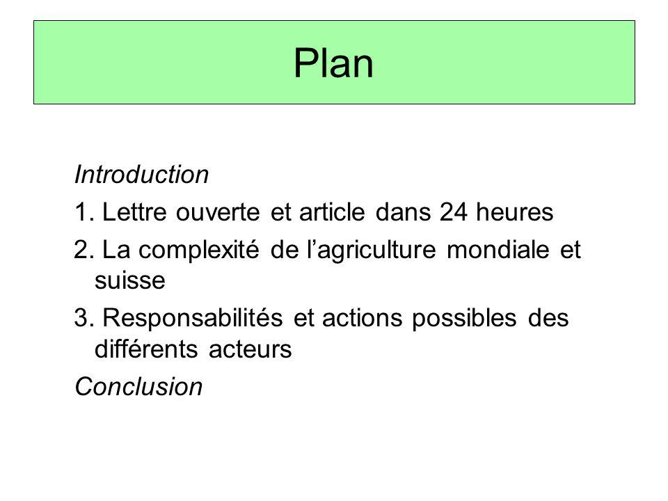 Plan Introduction 1. Lettre ouverte et article dans 24 heures 2. La complexité de l'agriculture mondiale et suisse 3. Responsabilités et actions possi