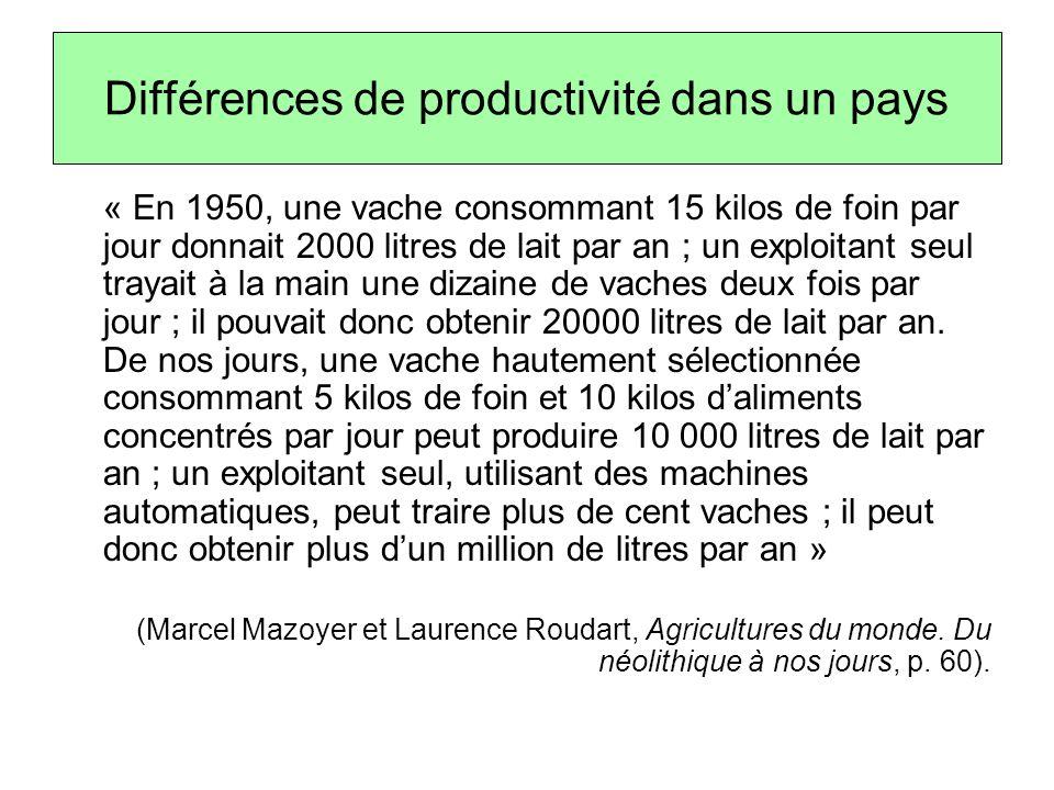 Différences de productivité dans un pays « En 1950, une vache consommant 15 kilos de foin par jour donnait 2000 litres de lait par an ; un exploitant