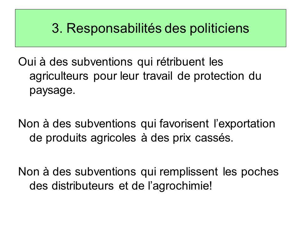 3. Responsabilités des politiciens Oui à des subventions qui rétribuent les agriculteurs pour leur travail de protection du paysage. Non à des subvent