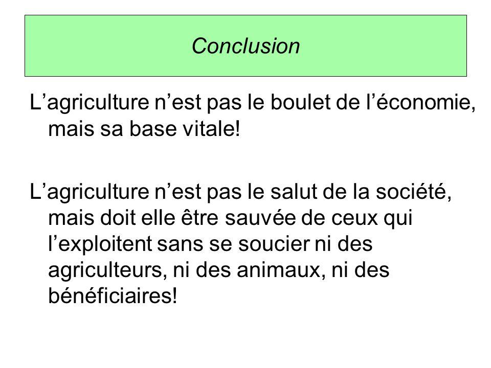 Conclusion L'agriculture n'est pas le boulet de l'économie, mais sa base vitale! L'agriculture n'est pas le salut de la société, mais doit elle être s