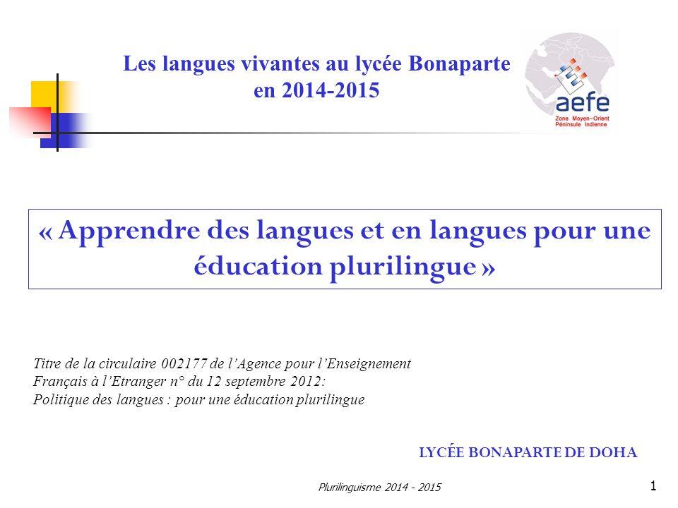 Les langues vivantes au lycée Bonaparte en 2014-2015 LYCÉE BONAPARTE DE DOHA « Apprendre des langues et en langues pour une éducation plurilingue » Ti