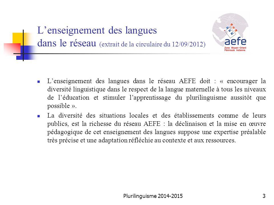 L'enseignement des langues dans le réseau (extrait de la circulaire du 12/09/2012) L'enseignement des langues dans le réseau AEFE doit : « encourager