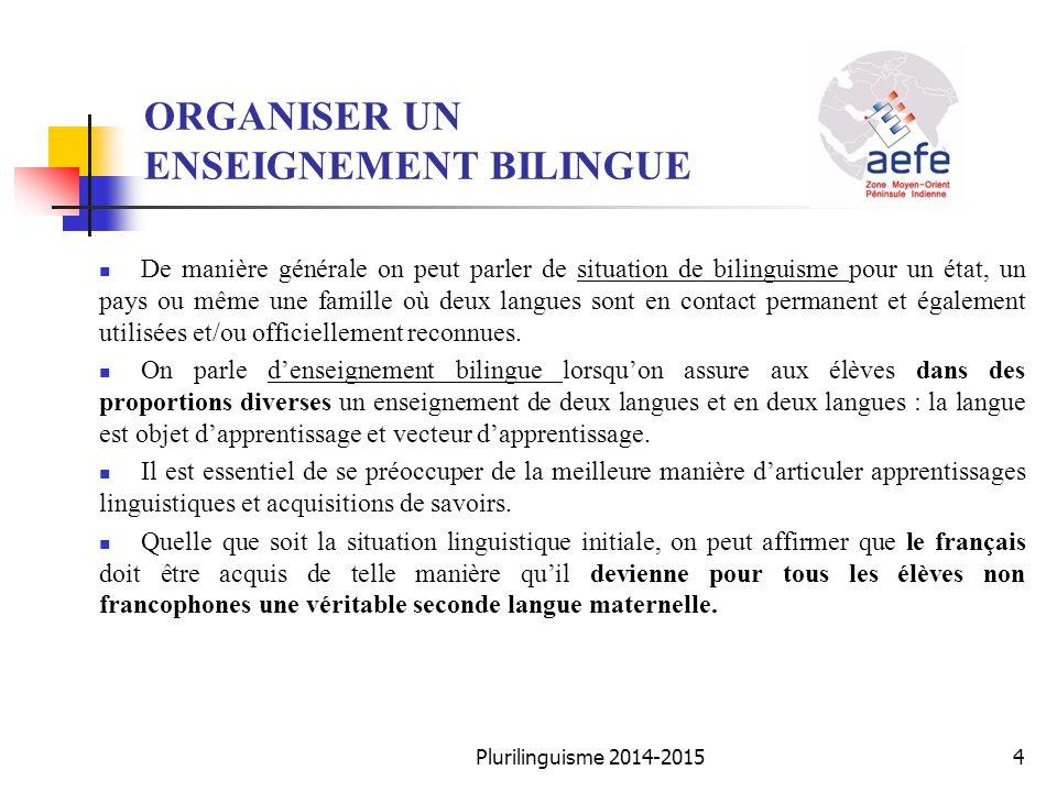 ORGANISER UN ENSEIGNEMENT BILINGUE De manière générale on peut parler de situation de bilinguisme pour un état, un pays ou même une famille où deux la