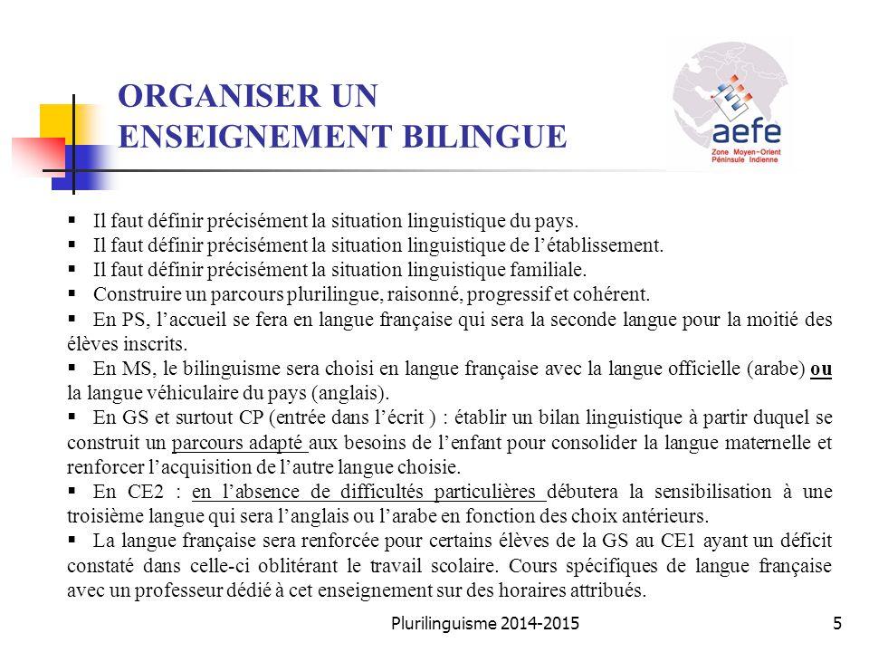 ORGANISER UN ENSEIGNEMENT BILINGUE  Il faut définir précisément la situation linguistique du pays.  Il faut définir précisément la situation linguis