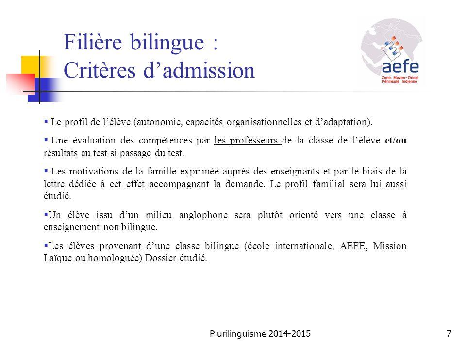 Filière bilingue : Critères d'admission  Le profil de l'élève (autonomie, capacités organisationnelles et d'adaptation).  Une évaluation des compéte