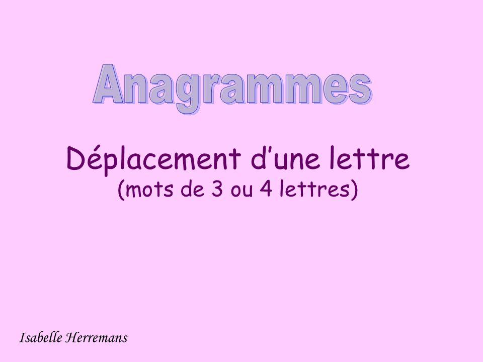 Déplacement d'une lettre (mots de 3 ou 4 lettres) Isabelle Herremans
