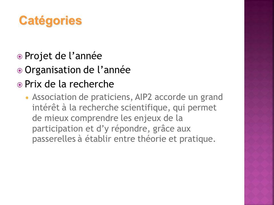  Projet de l'année  Organisation de l'année  Prix de la recherche  Association de praticiens, AIP2 accorde un grand intérêt à la recherche scienti