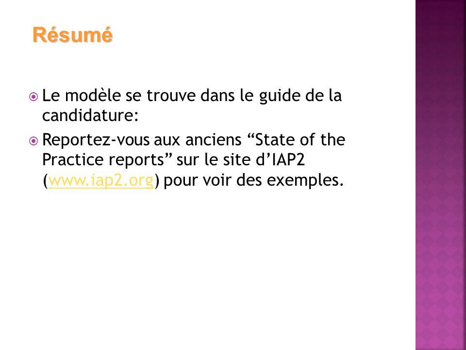  Le modèle se trouve dans le guide de la candidature:  Reportez-vous aux anciens State of the Practice reports sur le site d'IAP2 (www.iap2.org) pour voir des exemples.www.iap2.org Résumé