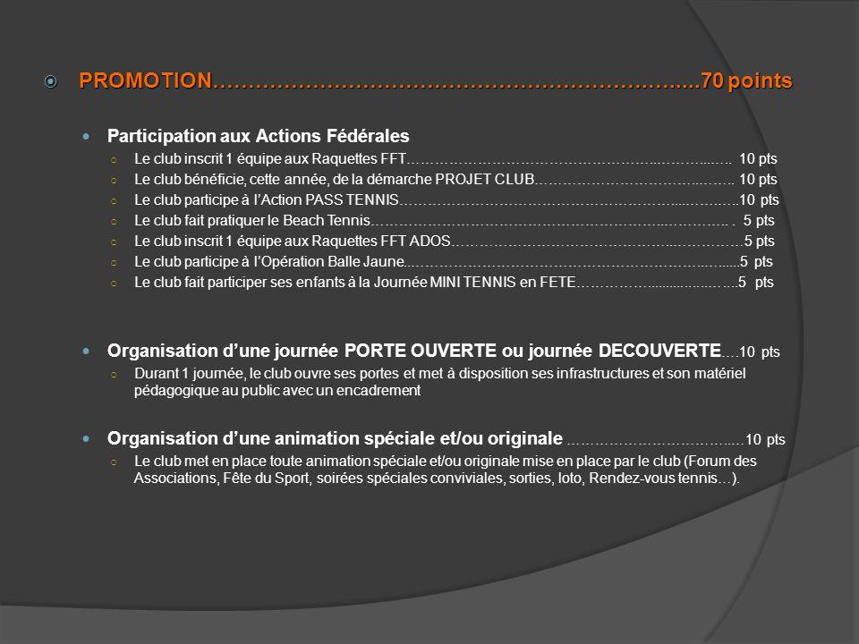  PROMOTION…………………………………………………….….....70 points Participation aux Actions Fédérales ○ Le club inscrit 1 équipe aux Raquettes FFT……………………………………………..………...…..