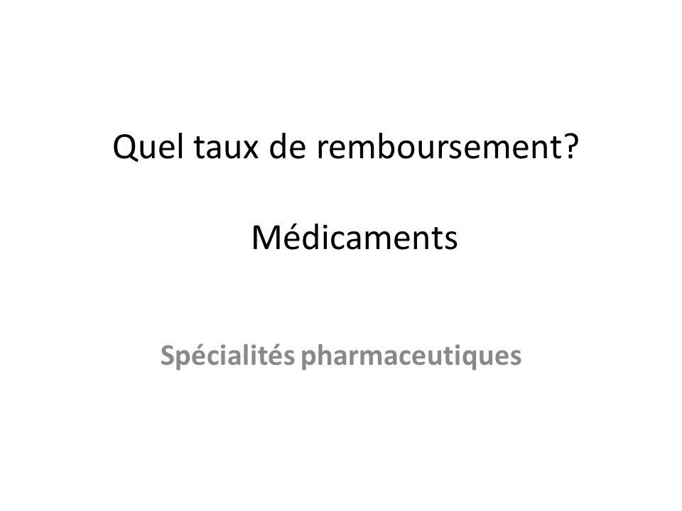 Quel taux de remboursement? Médicaments Spécialités pharmaceutiques