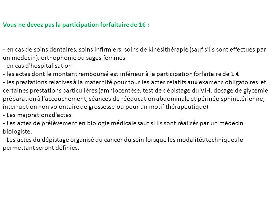 Vous ne devez pas la participation forfaitaire de 1€ : - en cas de soins dentaires, soins infirmiers, soins de kinésithérapie (sauf s'ils sont effectu