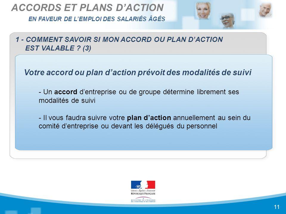 EN FAVEUR DE L'EMPLOI DES SALARIÉS ÂGÉS ACCORDS ET PLANS D'ACTION 11 1 - COMMENT SAVOIR SI MON ACCORD OU PLAN D'ACTION EST VALABLE .