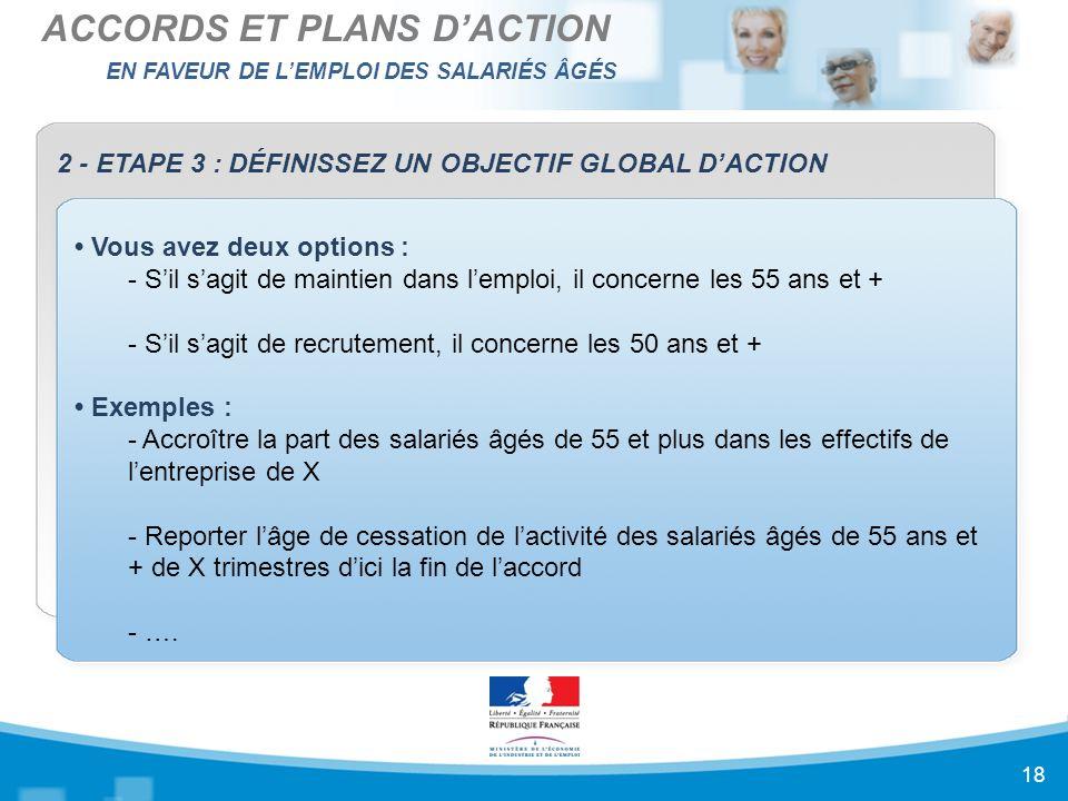 EN FAVEUR DE L'EMPLOI DES SALARIÉS ÂGÉS ACCORDS ET PLANS D'ACTION 18 2 - ETAPE 3 : DÉFINISSEZ UN OBJECTIF GLOBAL D'ACTION Vous avez deux options : - S'il s'agit de maintien dans l'emploi, il concerne les 55 ans et + - S'il s'agit de recrutement, il concerne les 50 ans et + Exemples : - Accroître la part des salariés âgés de 55 et plus dans les effectifs de l'entreprise de X - Reporter l'âge de cessation de l'activité des salariés âgés de 55 ans et + de X trimestres d'ici la fin de l'accord - ….