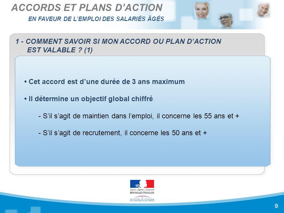 EN FAVEUR DE L'EMPLOI DES SALARIÉS ÂGÉS ACCORDS ET PLANS D'ACTION 9 1 - COMMENT SAVOIR SI MON ACCORD OU PLAN D'ACTION EST VALABLE .