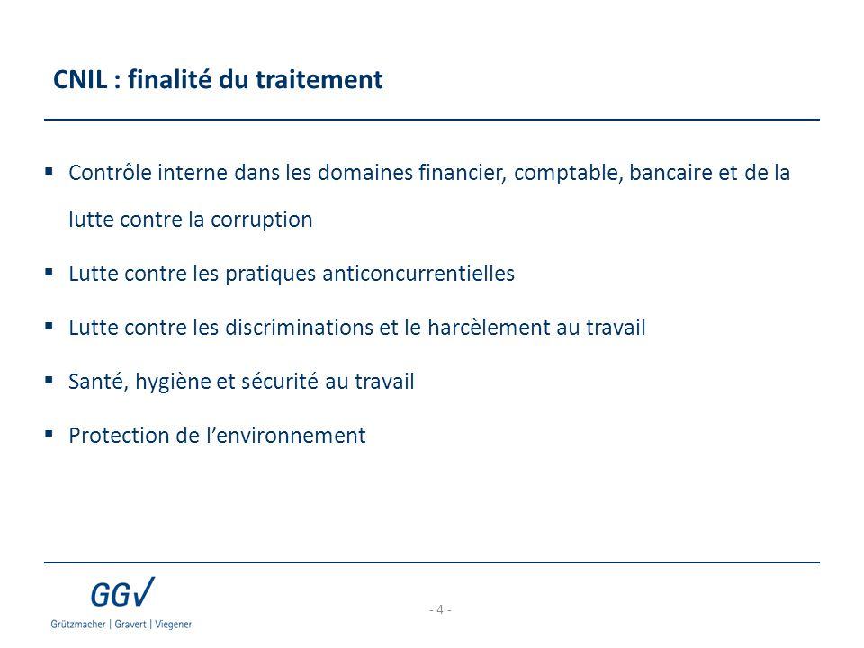 CNIL : finalité du traitement  Contrôle interne dans les domaines financier, comptable, bancaire et de la lutte contre la corruption  Lutte contre l