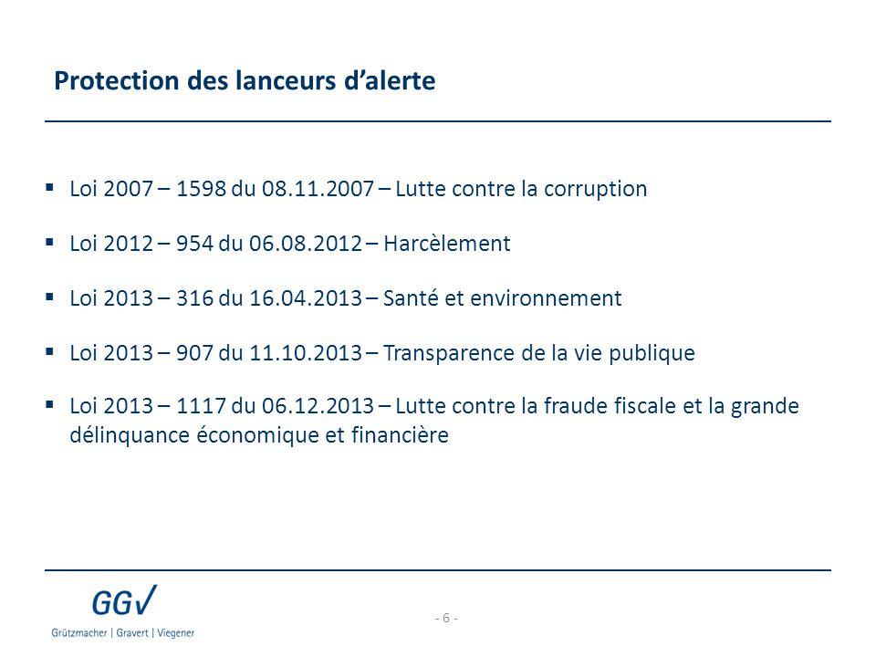 Protection des lanceurs d'alerte  Loi 2007 – 1598 du 08.11.2007 – Lutte contre la corruption  Loi 2012 – 954 du 06.08.2012 – Harcèlement  Loi 2013