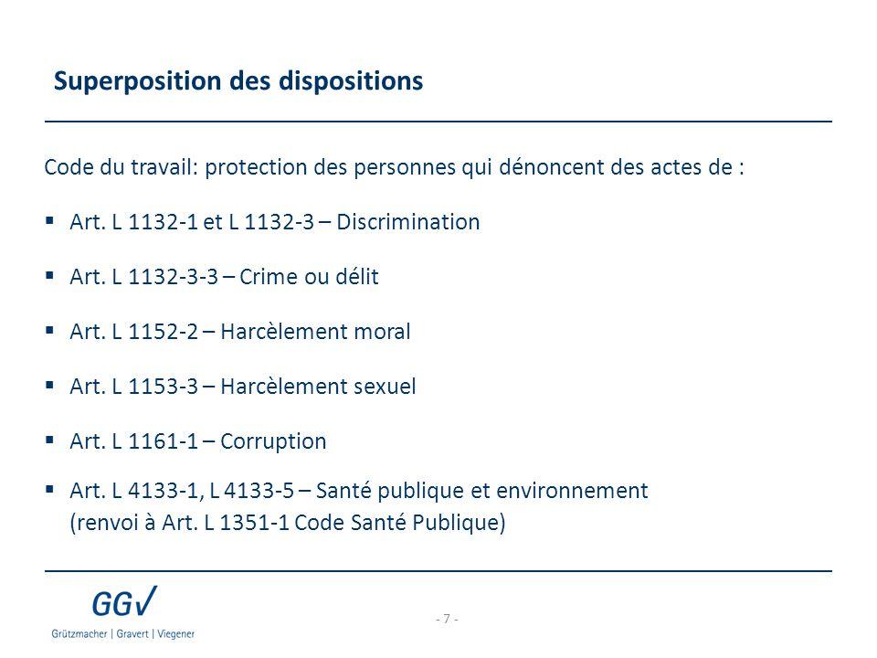 Superposition des dispositions Code du travail: protection des personnes qui dénoncent des actes de :  Art. L 1132-1 et L 1132-3 – Discrimination  A