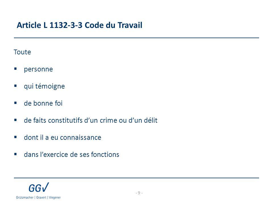 Article L 1132-3-3 Code du Travail Toute  personne  qui témoigne  de bonne foi  de faits constitutifs d'un crime ou d'un délit  dont il a eu conn