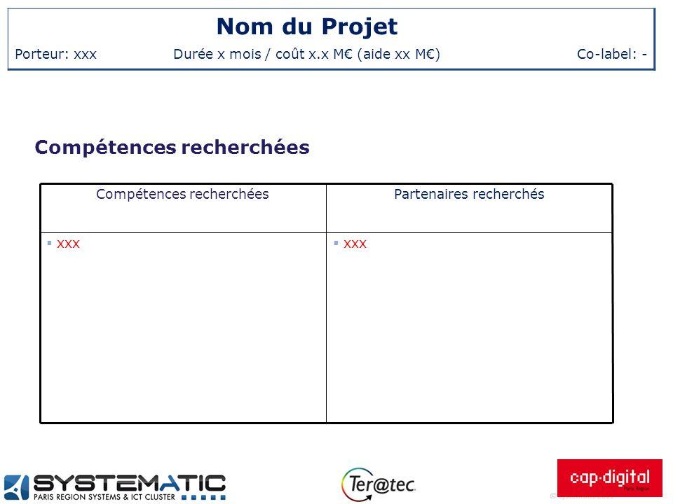 © Systematic 2011 Nom du Projet Porteur: xxxDurée x mois / coût x.x M€ (aide xx M€)Co-label: - Compétences recherchées  xxx Partenaires recherchésCom