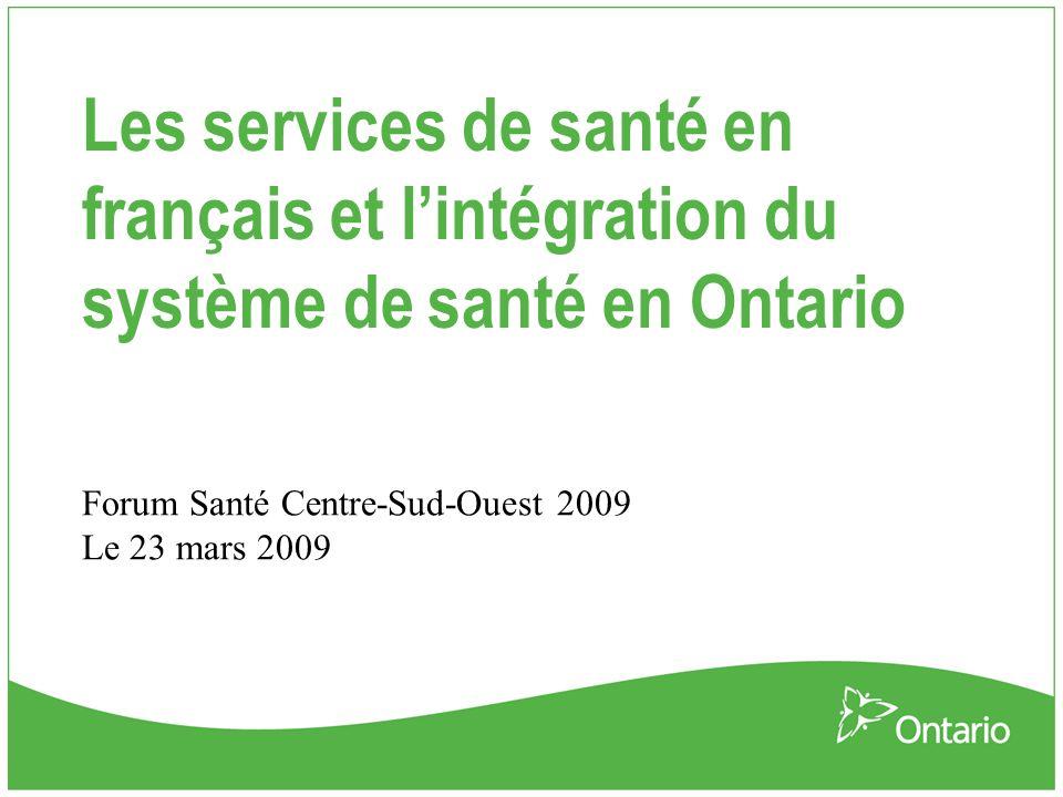 Contexte La Loi de 2006 sur l'intégration du système de santé demande aux réseaux locaux d'intégration des services de santé (RLISS) d'engager de façon soutenue la collectivité des diverses personnes et entités qui œuvrent au sein du système de santé local au sujet du système, et notamment le plan de services de santé intégrés, et lors de l'établissement des priorités qui s'alignent avec le plan stratégique du système de santé provincial Confère l autorité aux RLISS Définit l intégration Fait un survol du processus des RLISS en matière d intégration