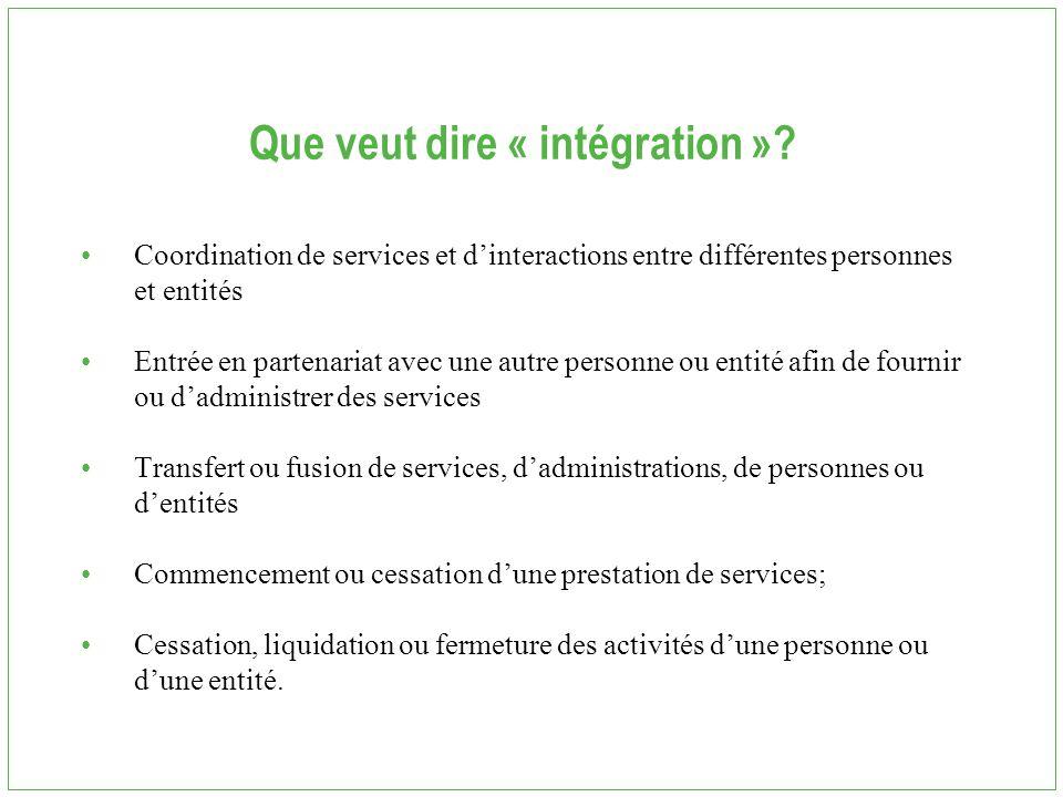 Que veut dire « intégration »? Coordination de services et d'interactions entre différentes personnes et entités Entrée en partenariat avec une autre