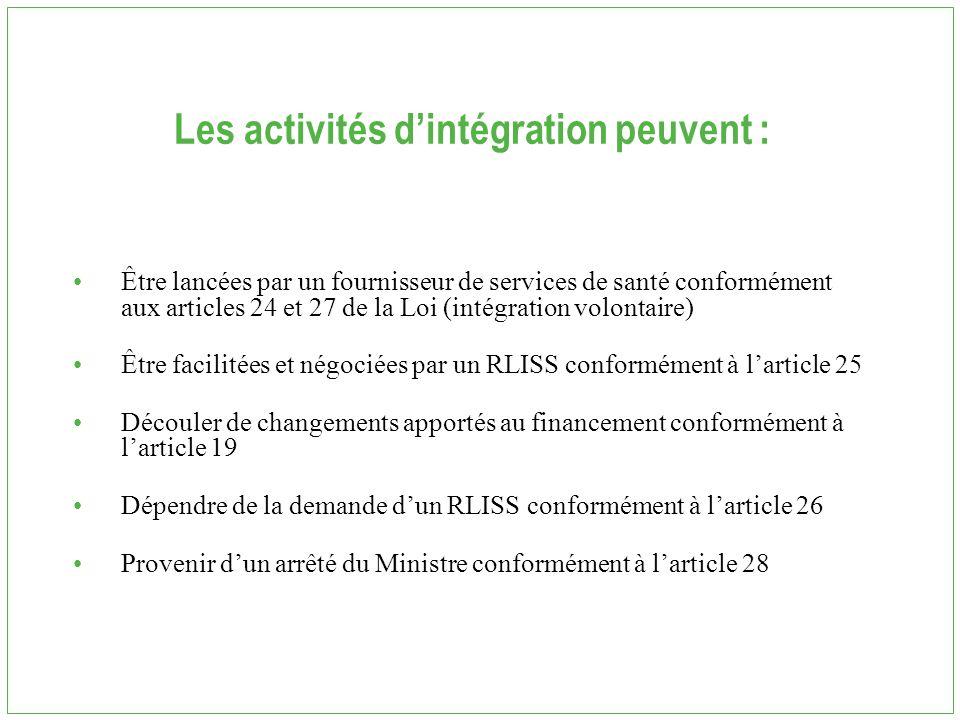 Les activités d'intégration peuvent : Être lancées par un fournisseur de services de santé conformément aux articles 24 et 27 de la Loi (intégration volontaire) Être facilitées et négociées par un RLISS conformément à l'article 25 Découler de changements apportés au financement conformément à l'article 19 Dépendre de la demande d'un RLISS conformément à l'article 26 Provenir d'un arrêté du Ministre conformément à l'article 28