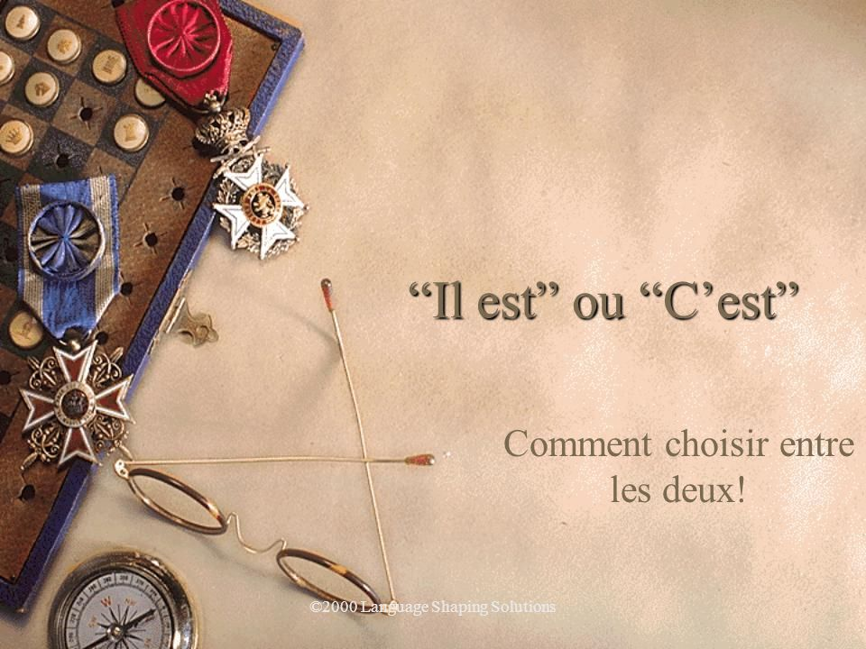 ©2000 Language Shaping Solutions C'est bien. Tu étudies.