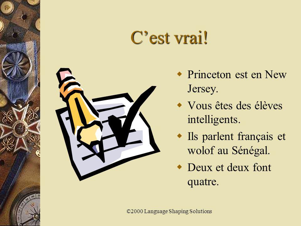 ©2000 Language Shaping Solutions Les Expressions impersonnelles  Pour exprimer ton opinion utiliser  C'est…  Ce n'est pas…  Par exemple:  J'aime le français.