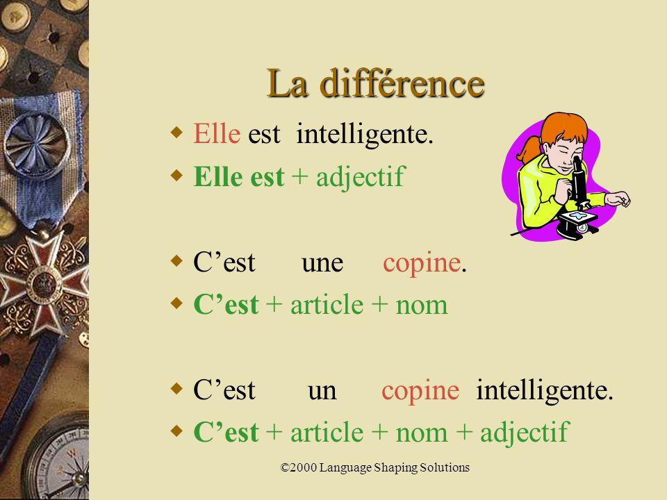 ©2000 Language Shaping Solutions La différence  Il est sportif.