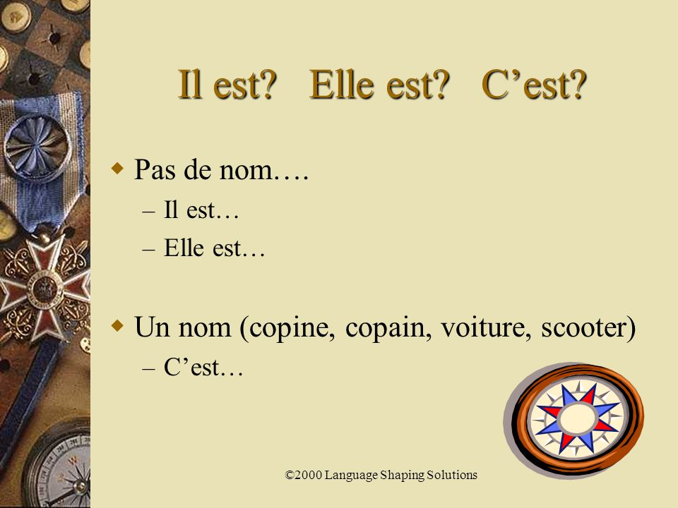 ©2000 Language Shaping Solutions C'est facile. L'addition  Manger de la pizza.