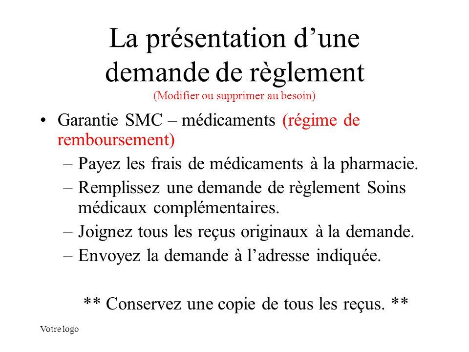 Votre logo La présentation d'une demande de règlement (Modifier ou supprimer au besoin) Garantie SMC – médicaments (régime de remboursement) –Payez le