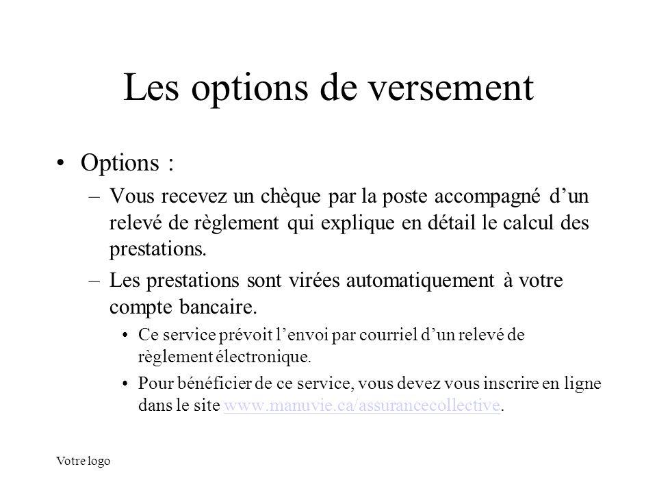 Votre logo Les options de versement Options : –Vous recevez un chèque par la poste accompagné d'un relevé de règlement qui explique en détail le calcu