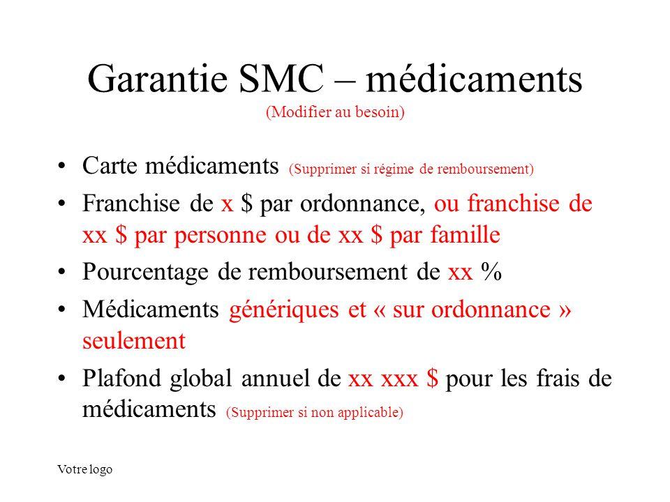 Votre logo Garantie SMC – médicaments (Modifier au besoin) Carte médicaments (Supprimer si régime de remboursement) Franchise de x $ par ordonnance, o