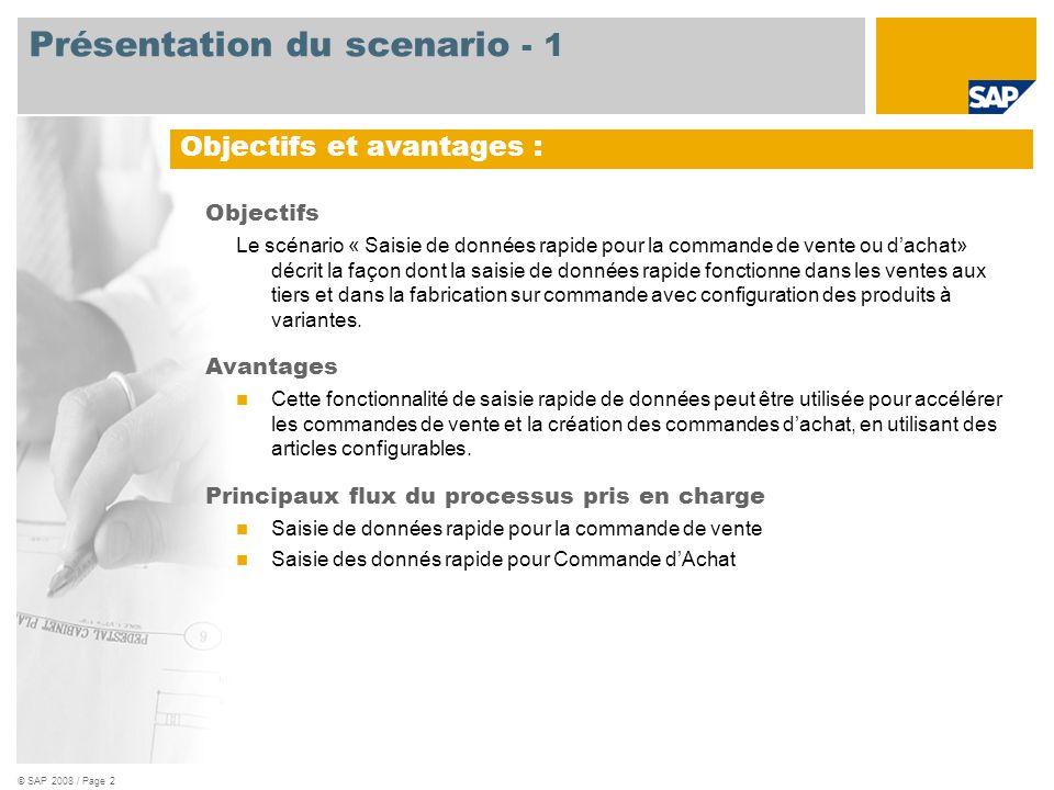 © SAP 2008 / Page 3 Obligatoire SAP ERP 6.0 EhP3 Rôles d ' utilisateurs impliqués dans les flux de processus Administrateur Administration des ventes Acheteur Applications SAP requises : Présentation du scenario - 2