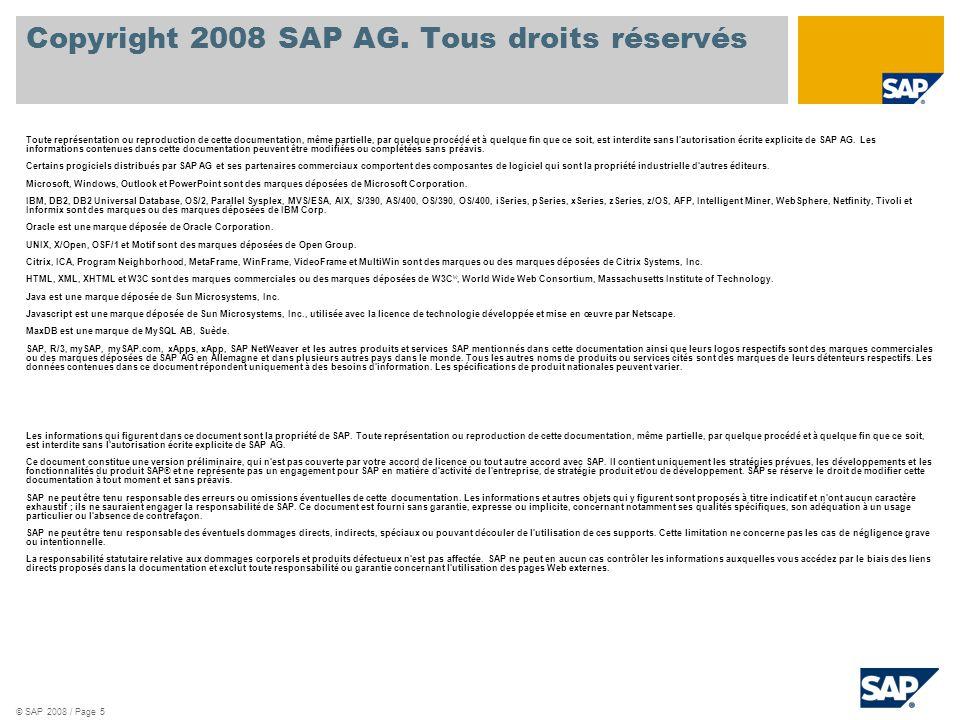 © SAP 2008 / Page 5 Copyright 2008 SAP AG.