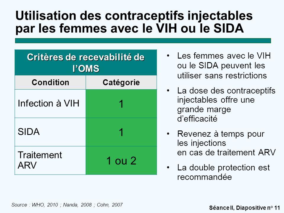 Séance II, Diapositive n o 11 Utilisation des contraceptifs injectables par les femmes avec le VIH ou le SIDA Les femmes avec le VIH ou le SIDA peuvent les utiliser sans restrictions La dose des contraceptifs injectables offre une grande marge d'efficacité Revenez à temps pour les injections en cas de traitement ARV La double protection est recommandée Critères de recevabilité de l'OMS ConditionCatégorie Infection à VIH 1 SIDA 1 Traitement ARV 1 ou 2 Source : WHO, 2010 ; Nanda, 2008 ; Cohn, 2007