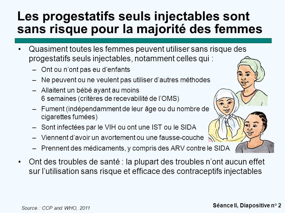 Séance II, Diapositive n o 2 Les progestatifs seuls injectables sont sans risque pour la majorité des femmes Quasiment toutes les femmes peuvent utili