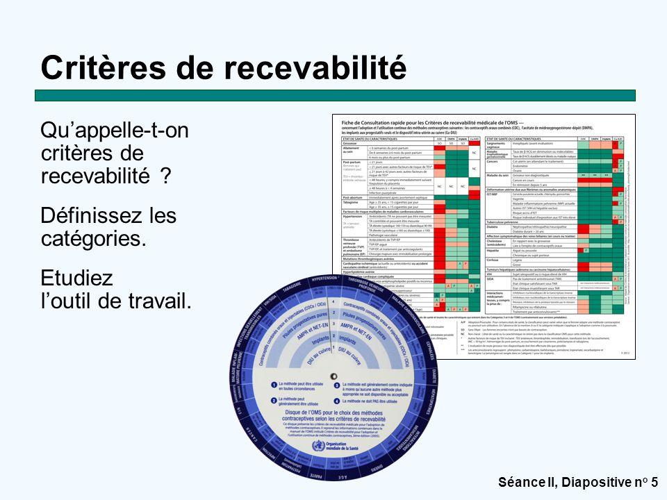 Séance II, Diapositive n o 5 Qu'appelle-t-on critères de recevabilité ? Définissez les catégories. Etudiez l'outil de travail. Critères de recevabilit